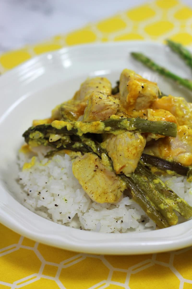 Saucy Curry Chicken and Asparagus