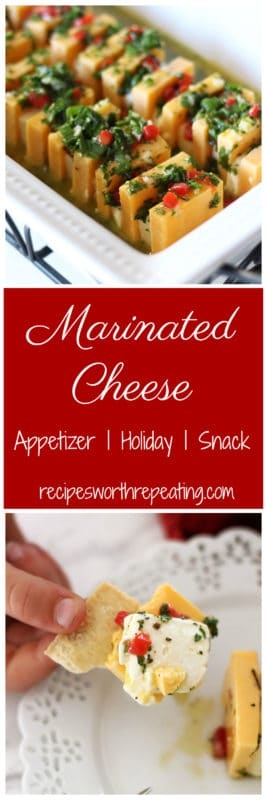 This Marinated Cheese recipe is the perfect appetizer! Marinated is the most decadent ingredients, this cheese soaks of the flavor the longer it marinates! Serve with your favorite crackers or celery!