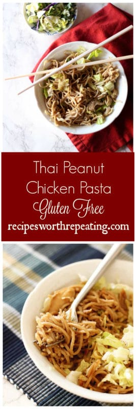 You are going to love this healthy version of Thai Peanut Chicken Pasta! This Thai Peanut Chicken Pasta recipe uses a healthier noodle, contains high levels of protein and added cabbage! Full of flavor, you're going to love the crunchy peanut taste of this healthy dish!