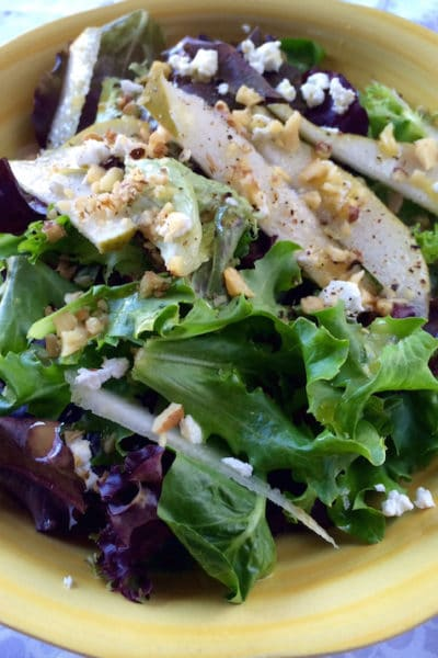 Green Leaf, Pear and Goat Cheese Salad