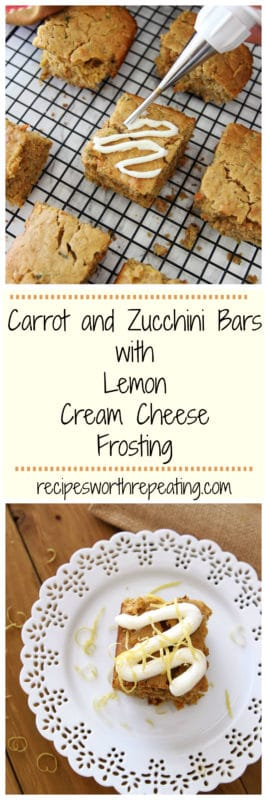 These Carrot and Zucchini Bars with Lemon Cream Cheese Frosting are the perfect Fall season dessert! This is the perfect sweet treat recipe for getting picky eaters to eat their vegetables! And they even have an extra kick of protein!