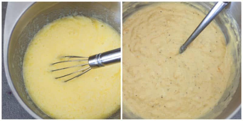 Silver bowl containing bread dough being stirred by a whisk.