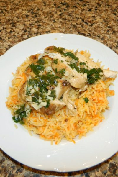Chicken with Scallion-Lime Sauce and Sweet Carrot Rice