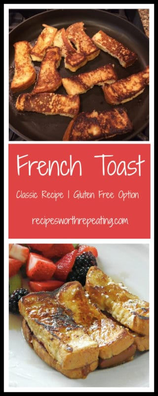 French toast cooking in a skillet and then French toast served on a white plate topped with maple syrup, side of mixed fruit.
