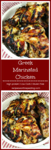 Brown bowl containing 6 pieces of grilled Greek Marinated Chicken topped with fresh lemon zest, red and white striped napkin.