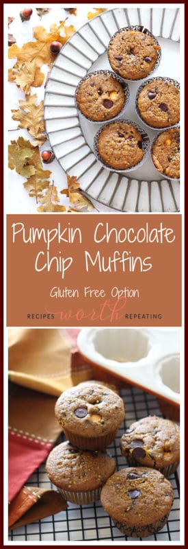 So moist and chocolaty, these Pumpkin Chocolate Chip Muffins arethe perfect snack to get you into the fall season! These muffins have the perfect combination of all your fall favorites flavors....pumpkin, cinnamon, nutmeg, ginger and clove!