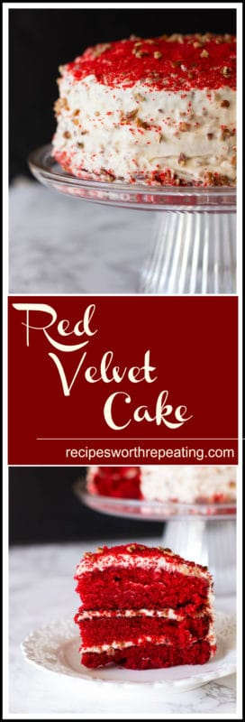 Red Velvet Cake sitting on glass cake dish, slice of cake on a white lace plate.