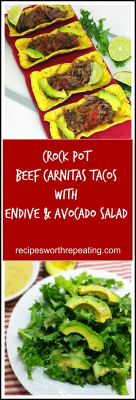 Crock Pot Beef Carnitas Tacos with Endive and Avocado Salad.