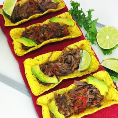 Crock Pot Beef Carnitas Tacos with Endive and Avocado Salad