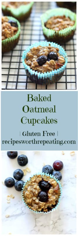 Baked blueberry oatmeal cupcakes; scattered blueberries and oats.