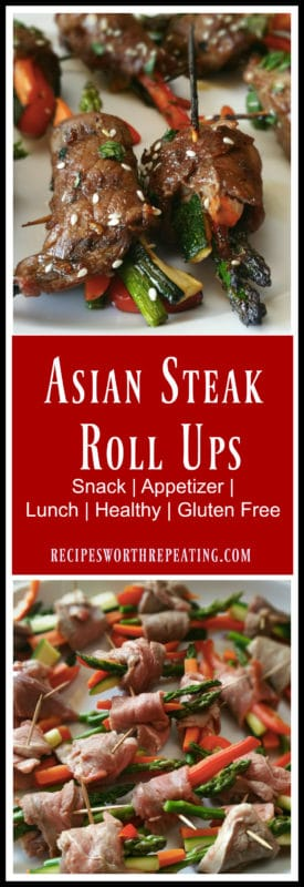 These Asian Steak Roll Ups make the perfect appetizer, lunch or snack! They are so versatile!  They are low in calories, high in protein and low carb! Full of flavor and super healthy, these roll ups are a crowd pleaser!!