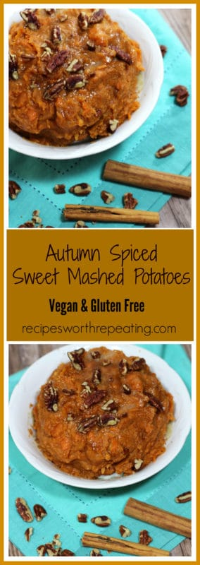 Sugar and spice and everything nice...that's what this Autumn Spiced Sweet Mashed Potatoes recipe is made of! An easy side dish, perfect for fall!