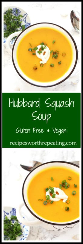 Easy and delicious, this Hubbard Squash Soup is perfect for this fall season! Naturally gluten free and vegan, this soup is perfect for lunch and pairs perfectly with a sandwich or a salad!