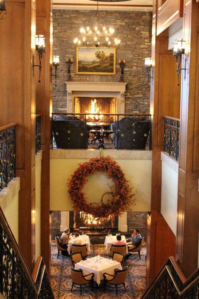 A fireplace and sitting area at the Biltmore Inn in Ashville, North Carolina.