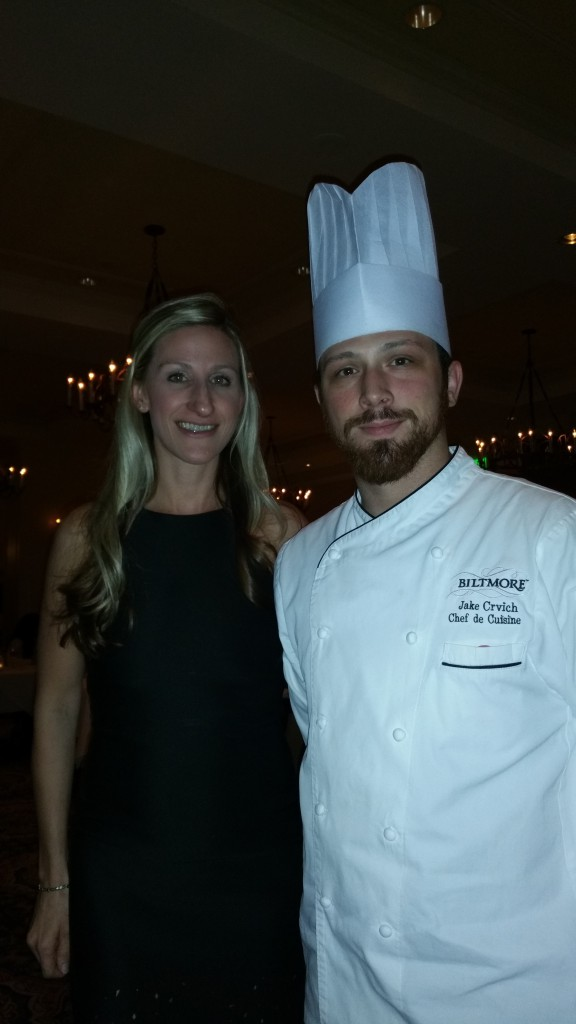 Amanda Mason from Recipes Worth Repeating posing with the Chef from The Biltmore Estate.