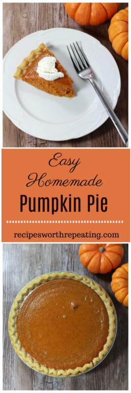 Pumpkin, cinnamon and clove...this traditional homemade pumpkin pie recipe is a MUST at your Thanksgiving table! The single most popular and most requested holiday dessert, this one is super simple to make!