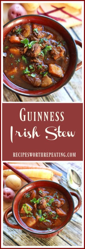Red bowl containing Guinness Irish Stew filled with beef stew, potatoes, carrots and topped with parsley.