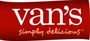 Red and white logo for Van\'s Simply Delicious food.