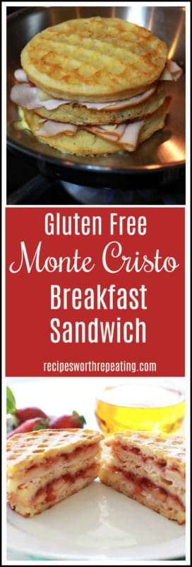 Monte Cristo made with gluten free waffles, melted cheese and warmed turkey on a white plate.