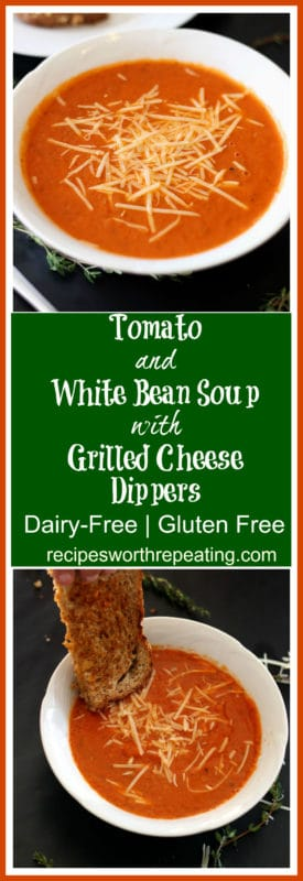 This Tomato and White Bean Soup with Grilled Cheese Dippers is perfect for the kiddos. It's dairy-free and gluten free! This one takes no more than 30 minutes, start to finish!