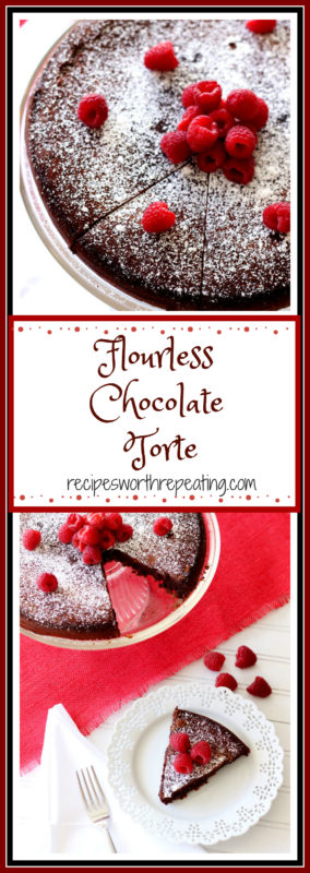 This Flourless Chocolate Torte is decadent, velvety and a huge cloud pleaser! Topped with fresh raspberries and powdered sugar, this is a GLUTEN FREE dessert everyone will enjoy!