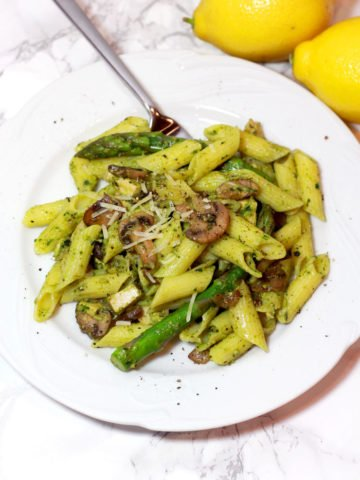 Mushroom Chicken Penne Pasta with Walnut Pesto Gluten Free