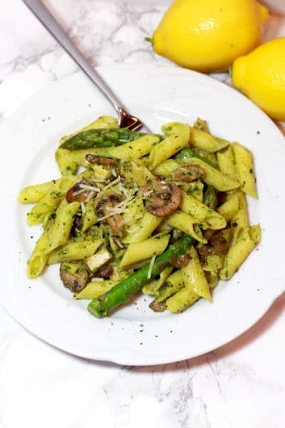 Mushroom and Chicken Penne with Walnut Pesto