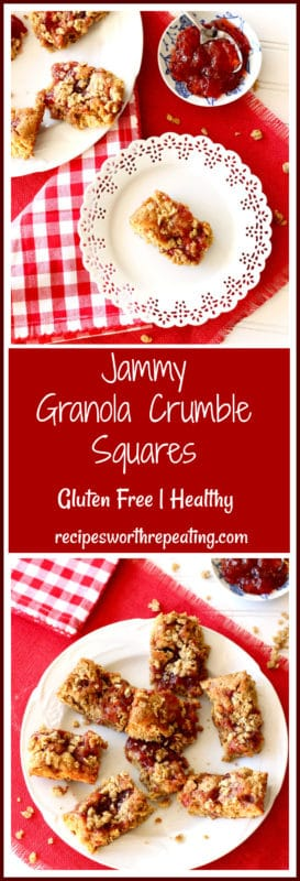 Jammy Granola Crumble Squares on a white lace plate, side of strawberry jam.
