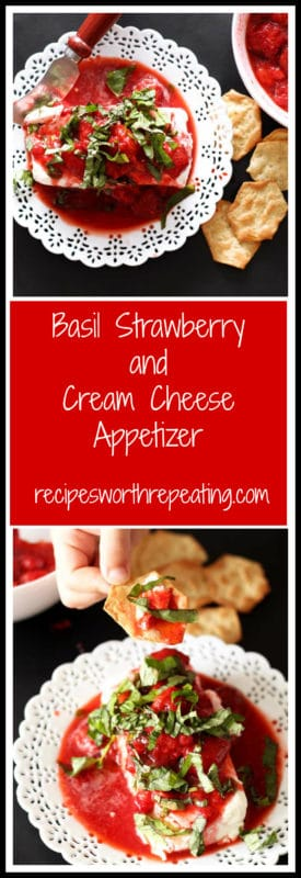 This has to be the easiest and most flavorful appetizer I've ever made! It's such a crowd pleaser and always gets gobbled up fast! The combined flavors of fresh basil, flavored balsamic and strawberries over the cheese is divine!