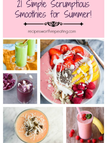 A collage of different smoothies