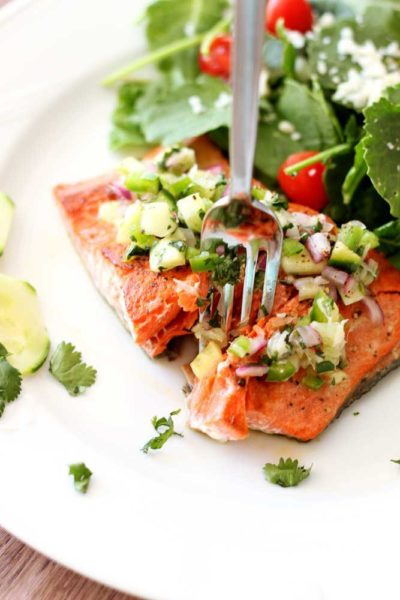Pan Seared Salmon With Cucumber Salad