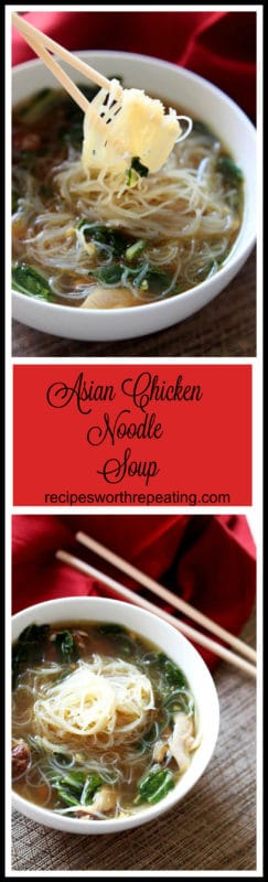 This Asian Chicken Noodle Soup has an amazing authentic taste! The chicken marinated in Chinese Five Spicemakes it amazinglytender...it melts in your mouth! The gluten free Mei Fun in this savory soup paired with the fresh ginger and garlic makes this dish over the top! Nothing screams savory like homemade chicken noodle soup...especially with an Asian flair!!
