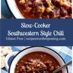 White bowl of Southwestern Style Chili topped with shredded cheddar cheese.