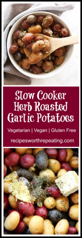 Full of flavor and zest, these Slow Cooker Herb Roasted Garlic Potatoes are one of the most flavorful and easiest side dishes you will ever make! These are perfect for any weeknight dinner and your family will enjoy the tenderness in every bite with these potatoes!