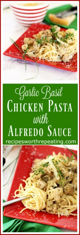 This Garlic Basil Chicken Pasta is so full of flavor and is guaranteed to be a crowd pleaser! This recipe is easy and perfect for any weeknight meal! The secret to this recipe is marinating the chicken in some of the most flavorful fresh ingredients: olive oil, fresh garlic, fresh basil, olive oil and shallots! It's as easy as sautéing the chicken and serving with noodles and a creamy rich alfredo sauce. You're family will be asking you to make this recipe weekly!