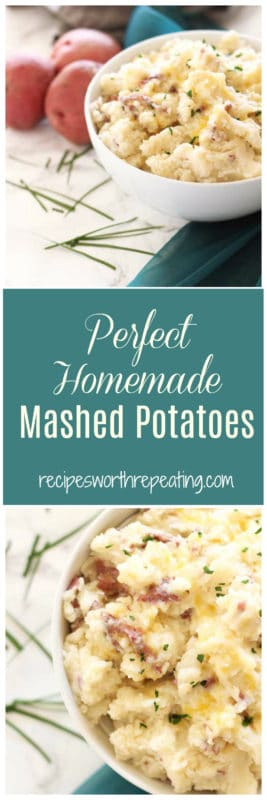This homemade mashed potatoes recipe is so easy and oh so good! This side dish is full of flavor and perfect for your holiday season! These take no time at all to whip up and your family will love these potatoes! These mashed potatoes pair so perfectly with so many weeknight meals, but you'll also enjoy them during them holiday season!