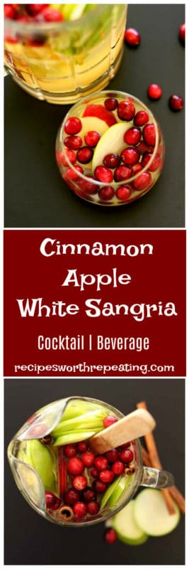 Pitcher of Cinnamon Apple White Sangria, side glass filled with sangria.