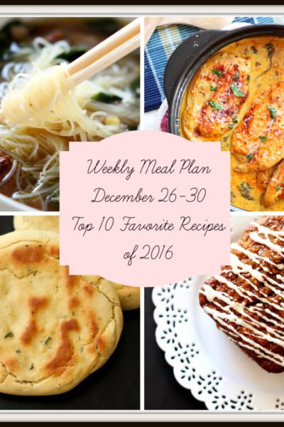 Meal Plan: Week of December 26-30