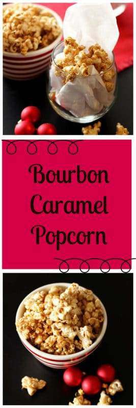 Still looking for a holiday appetizer for your holiday party? This Bourbon Caramel Popcorn is simple and fast to make and is a guaranteed crowd pleaser! This isn't just another caramel popcorn recipe...the sweetness of the caramel with the salty of the popcorn is a perfect combination! With just a hint of bourbon in the sweet caramel, this Bourbon Caramel Popcorn will have people reaching for more...down to the last kernel!