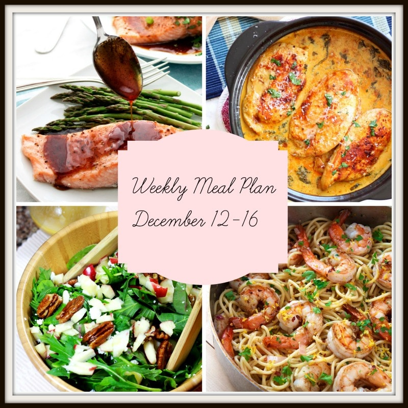 Picture of recipes in Weekly Meal Plan Dec 12 - 16. Meal Plan at recipesworthrepeating .com
