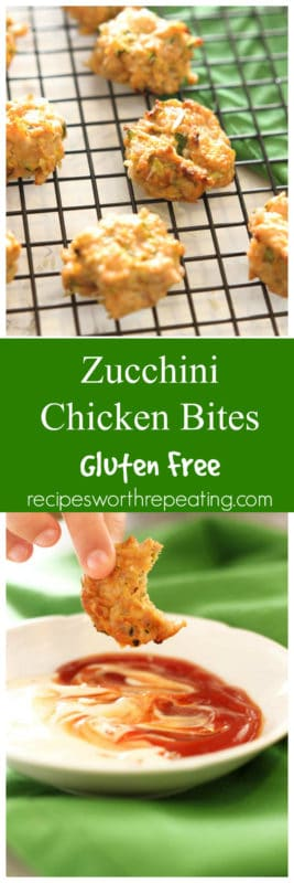 These Zucchini Chicken Bites are easy to make, super healthy and packed full of protein! Mixed with freshly shredded zucchini, ground chicken and a little bit of spice, these little bites are perfect for an afternoon snack!