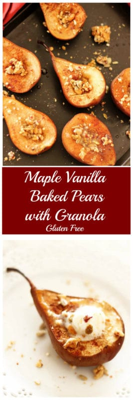 These Maple Vanilla Baked Pears are the perfect healthy sweet treat! Drizzled with warm maple syrup and cinnamon spice, these baked pears are topped with the perfect blend of crunchy cashew, cranberry and orange granola!