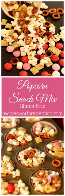 This Popcorn Snack Mix is delicious and packed full of protein! This snack mix contains protein packed popcorn, gluten free pretzels, rice chex, chocolate and more! Bursting with a sweet and salty flavor, this is a perfect snack that everyone can enjoy!