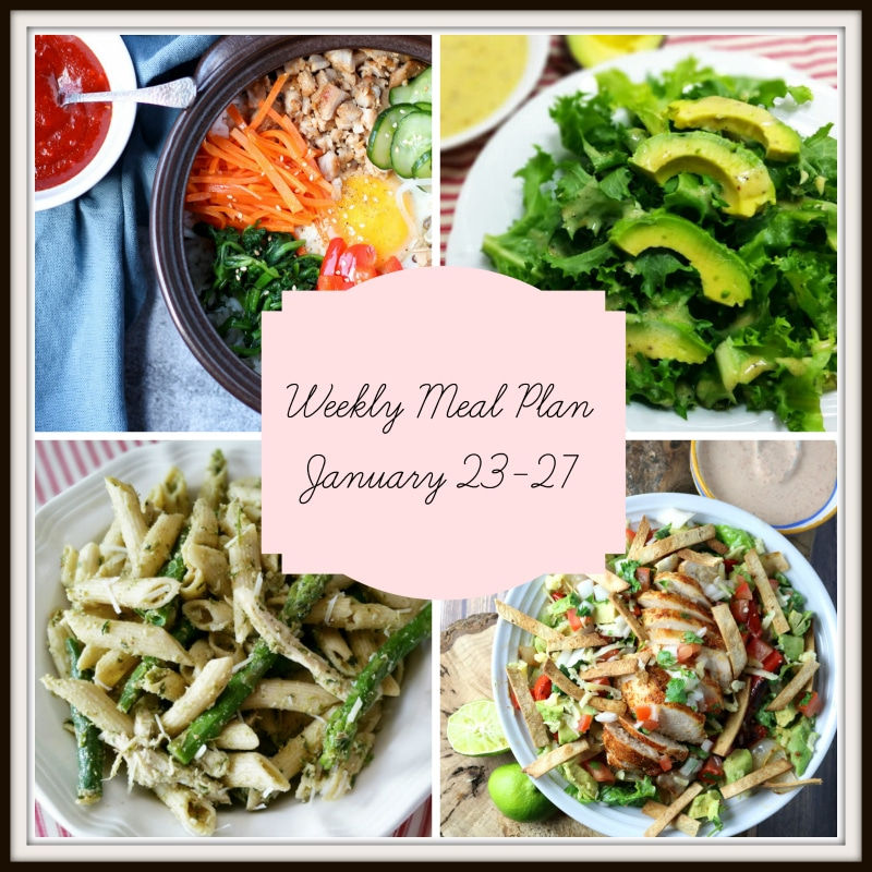 Collage of 4 dinners in a meal plan containing Bibimbap, Avocado Salad, Penne pasta with pesto and asparagus and haystack nachos.