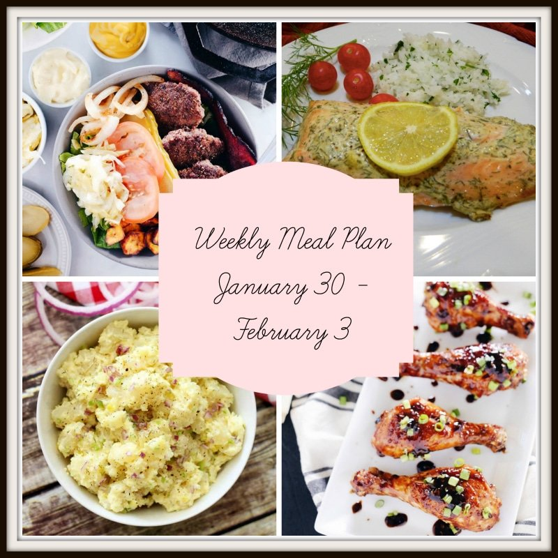 A collage of 4 dinners featured in a meal plan containing salmon. potato salad a BBQ drumsticks.