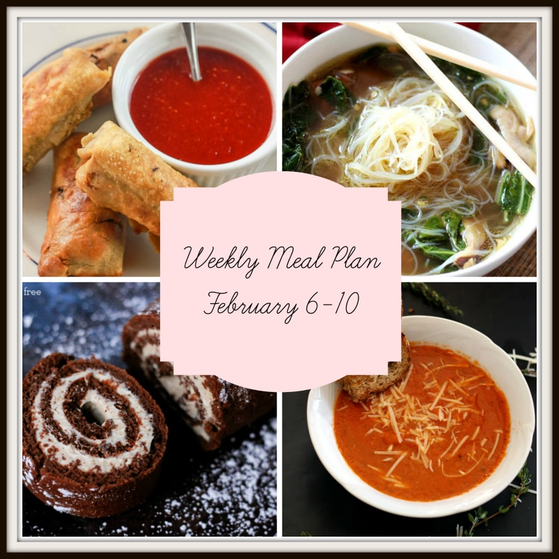 Collage of 4 recipes featured in a meal plan containing spring roles, asian chicken soup and tomato soup with grilled cheese dippers.