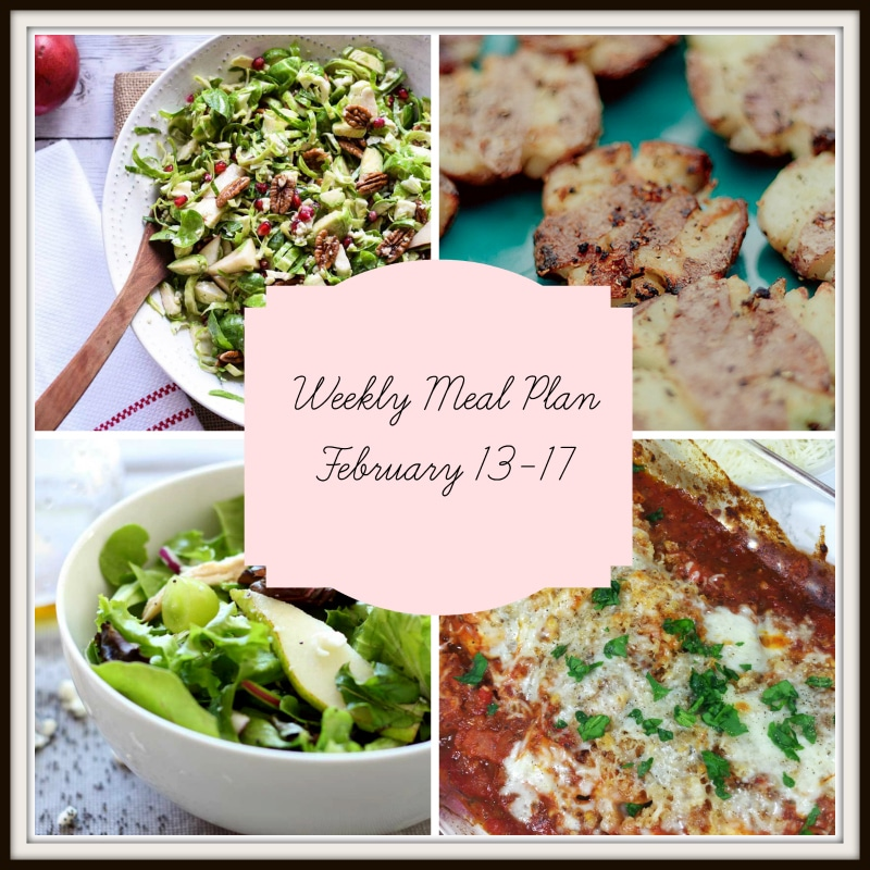 Weekly meal plan featuring Parmesan Bakes Chicken, Peat and Spinach Salad and Grilled Smashed Potatoes.