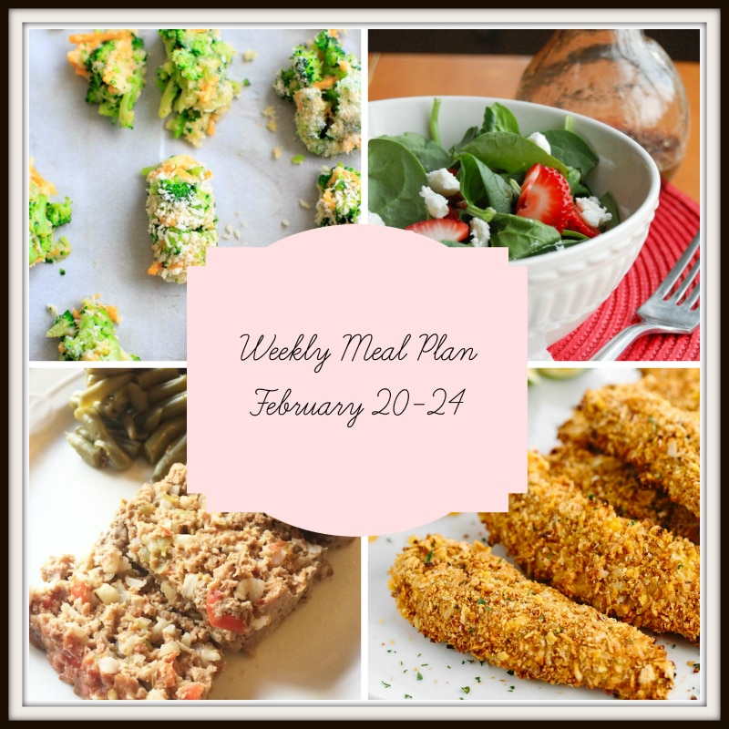 A collage of 4 meals featured in a meal plan containing a spinach strawberry salad, meatloaf, chicken tenders and cheddar and broccoli bites.