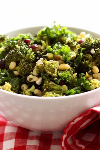 Roasted Broccoli Salad with Pine Nuts and Feta