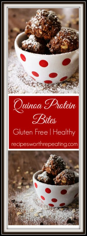 These No-Bake Quinoa Protein Bites are the perfect snack! It takes no time at all to throw together the ingredients and roll them into balls. Once they're frozen, they are ready to eat! Super healthy and full of taste, these protein bites are perfect for that quick burst of energy you need in your day! And they are ridiculously tasty!